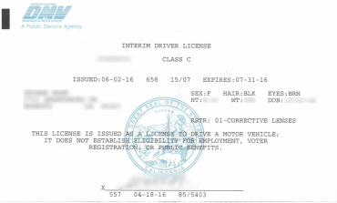 Interim driver's license in California is valid for 90 days
