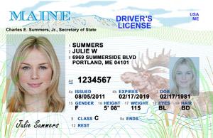 ME DMV driver's license
