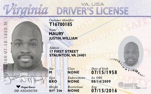 VA DMV driver's license