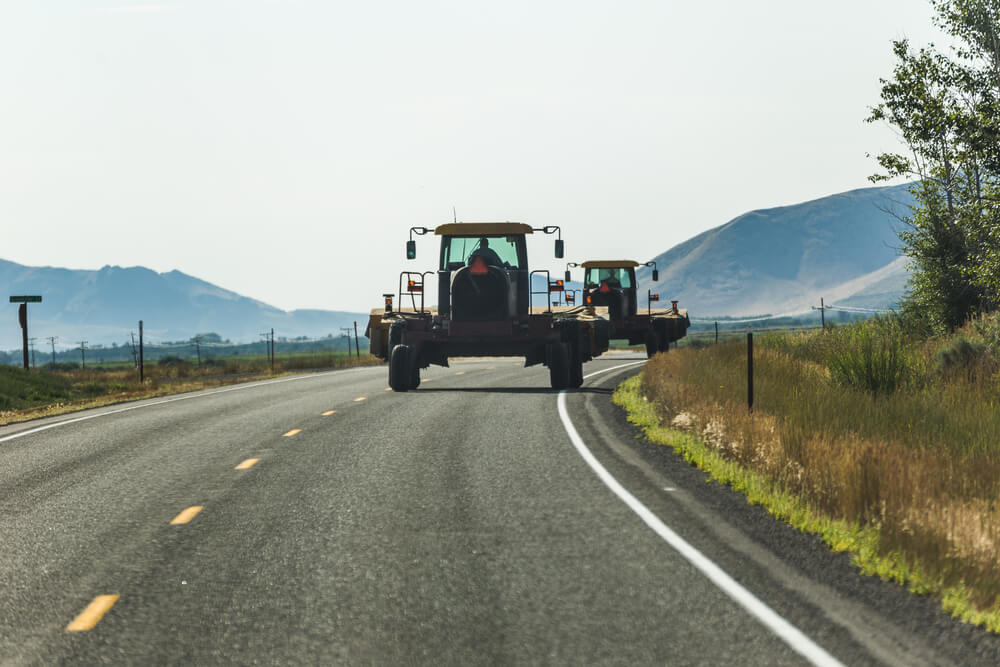 farming equipment on the road