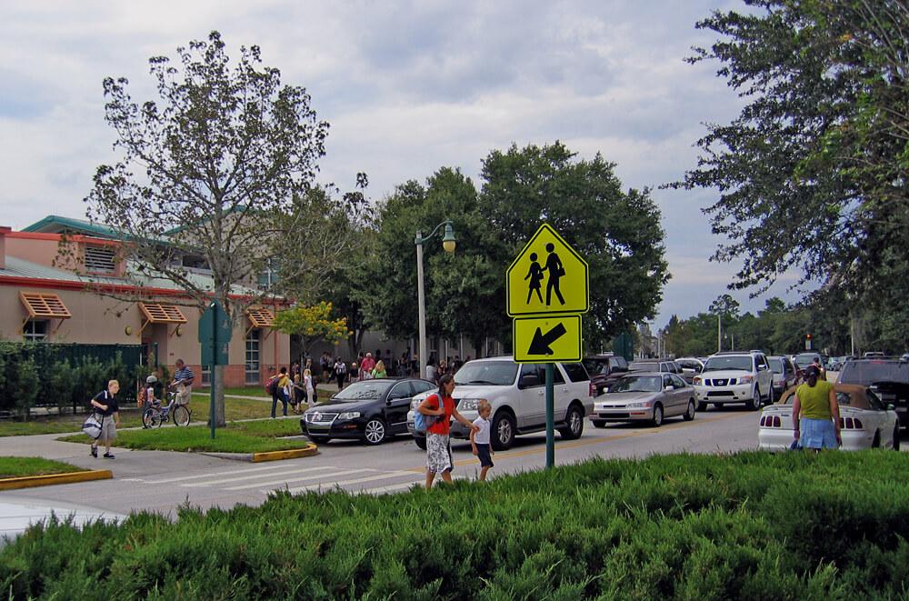 pedestrian crossing near a school