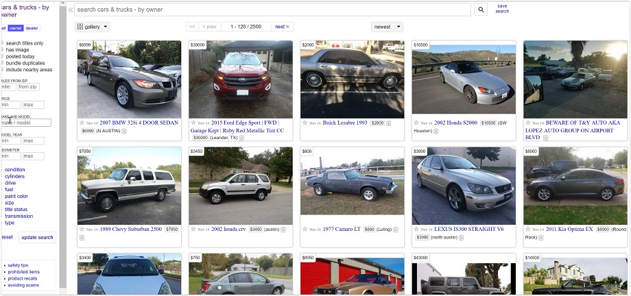 sell a car at craigslist