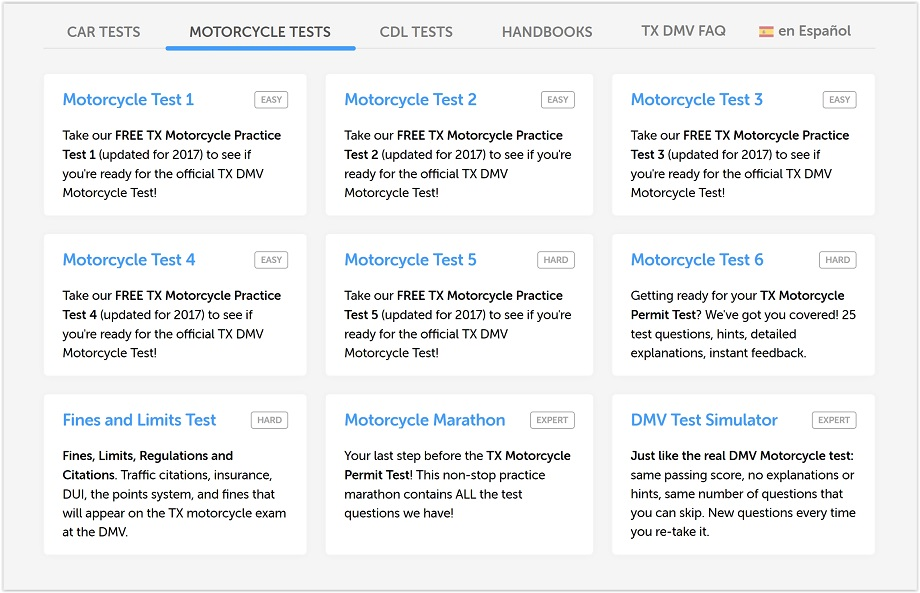 motorcycle tests