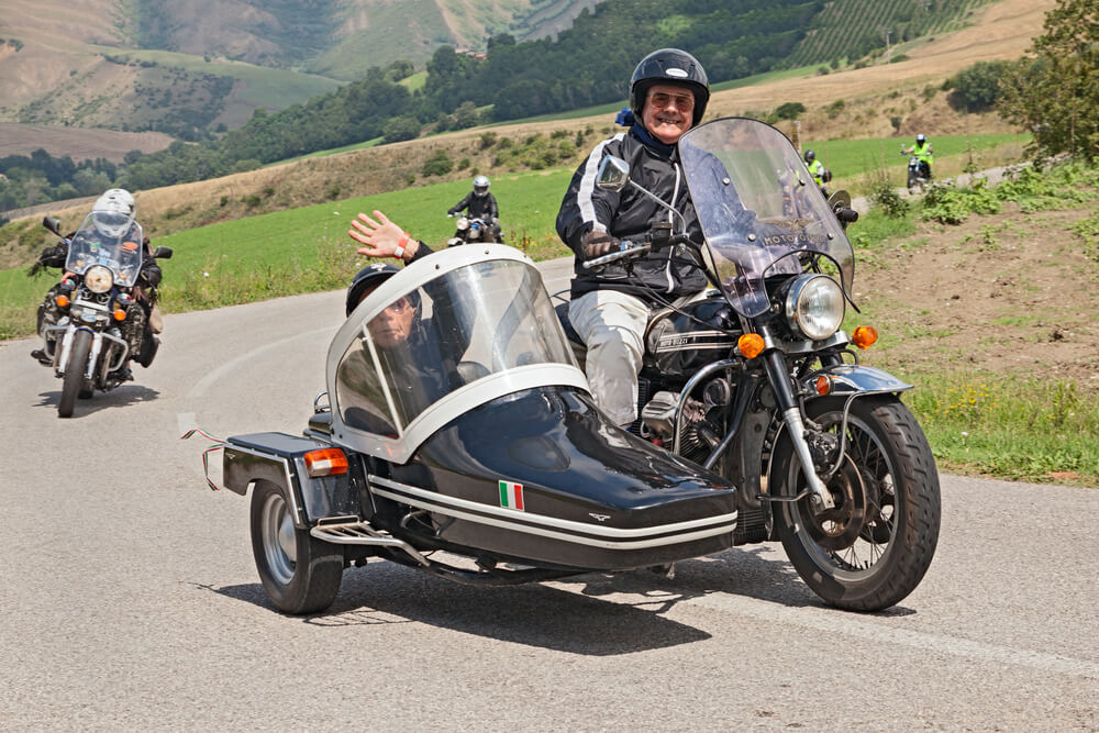 motorcycle with a sidecar